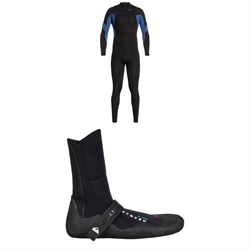 Quiksilver 4​/3 Syncro Chest Zip GBS Wetsuit ​+ Quiksilver Syncro 3mm Split Toe Wetsuit Boots