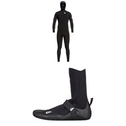 Quiksilver 5​/4​/3 Syncro Chest Zip GBS Hooded Wetsuit ​+ Quiksilver 5mm Syncro Round Toe Wetsuit Boots