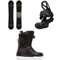 Arbor Formula Rocker Snowboard + Arbor Hemlock Snowboard Bindings + DC Scout Boa Snowboard Boots 2020