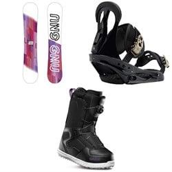 GNU B-Nice Asym BTX Snowboard + Burton Citizen Snowboard Bindings + thirtytwo Shifty Boa Snowboard Boots - Women's
