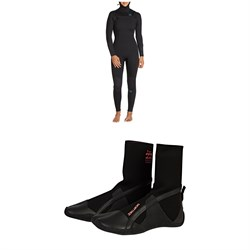 Billabong Synergy 5​/4 Chest Zip Hooded Wetsuit - Women's ​+ Billabong Furnace Synergy 5mm Split Toe Wetsuit Boots - Women's