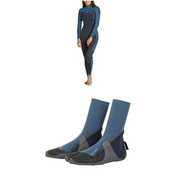 Billabong Synergy 4​/3 Back Zip GBS Wetsuit - Women's ​+ Furnace Synergy 3mm Split Toe Wetsuit Booties - Women's