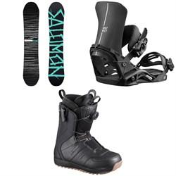 Salomon Craft X Snowboard + District Snowboard Bindings + Launch Boa SJ Snowboard Boots