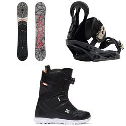 Roxy Ally Banana Snowboard + Burton Citizen Snowboard Bindings + DC Search Boa Snowboard Boots - Women's