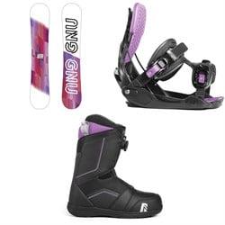 GNU B-Nice Asym BTX Snowboard + Flow Haylo Snowboard Bindings + Nidecker Maya Boa Snowboard Boots - Women's