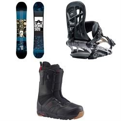 Rome Reverb Rocker SE Snowboard  + 390 Boss Snowboard Bindings  + Burton Ruler Snowboard Boots 2018