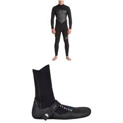Quiksilver 4/3 Syncro Back Zip GBS Wetsuit + Quiksilver 3mm Syncro Split Toe Wetsuit Booties