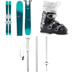 Rossignol Sassy 7 Skis + Xpress 10 Bindings - Women's 2020 + Rossignol Kelia 50 Ski Boots - Women's 2020 + evo Double-E Ski Poles 2020