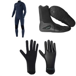 Vissla 7 Seas 4​/3 Chest Zip Wetsuit ​+ Vissla 7 Seas 3mm Split Toe Wetsuit Boots ​+ Vissla High Seas 1.5mm Wetsuit Gloves