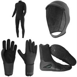 Vissla 7 Seas 4/3 Chest Zip Wetsuit + 7 Seas 3mm Wetsuit Hood + 7 Seas 3mm Wetsuit Gloves + 7 Seas 3mm Split Toe Wetsuit Boots