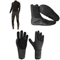 Vissla 7 Seas 4/3 50/50 Wetsuit + 7 Seas 3mm Split Toe Wetsuit Boots + 7 Seas 3mm Wetsuit Gloves