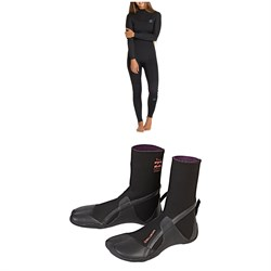 Billabong 4​/3 Synergy Back Zip GBS Wetsuit - Women's ​+ Billabong Furnace Synergy 3mm Split Toe Wetsuit Boots - Women's