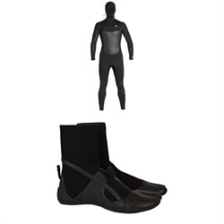 Billabong 5​/4 Absolute X Chest Zip Hooded Wetsuit ​+ Billabong 5mm Furnace Absolute Split Toe Wetsuit Boots