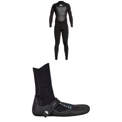 Quiksilver 4​/3 Syncro Back Zip GBS Wetsuit ​+ Quiksilver Syncro 3mm Split Toe Wetsuit Boots