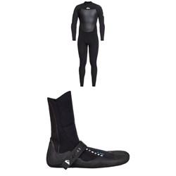 Quiksilver 4/3 Syncro Back Zip GBS Wetsuit + Quiksilver Syncro 3mm Split Toe Wetsuit Boots