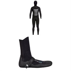Quiksilver 4/3 Syncro+ Chest Zip LFS Hooded Wetsuit + Quiksilver Syncro 3mm Split Toe Wetsuit Boots