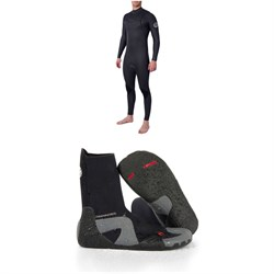 Rip Curl 4​/3 Dawn Patrol Performance Chest Zip Wetsuit ​+ Rip Curl Dawn Patrol 3mm Split Toe Boots