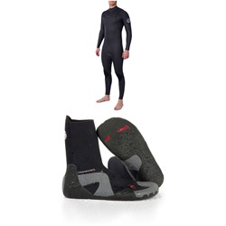 Rip Curl 4​/3 Dawn Patrol Performance Chest Zip Wetsuit ​+ Rip Curl Dawn Patrol 3mm Round Toe Boots