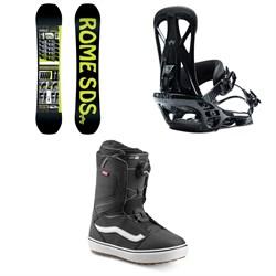 Rome Mechanic Snowboard + Rome United Snowboard Bindings + Vans Aura OG Snowboard Boots 2020