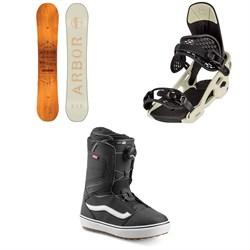Arbor Whiskey Snowboard + Arbor Spruce Snowboard Bindings + Vans Aura OG Snowboard Boots 2020