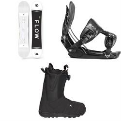Flow Merc Snowboard 2018 + Five Fusion Snowboard Bindings  + Burton Moto Boa R Snowboard Boots 2018