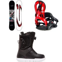 GNU Carbon Credit Asym BTX Snowboard + GNU Cheeter Snowboard Bindings + DC Scout Boa Snowboard Boots 2020