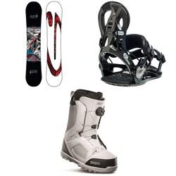 GNU Carbon Credit Asym BTX Snowboard + GNU Cheeter Snowboard Bindings + thirtytwo STW Boa Snowboard Boots 2019