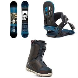 Rome Reverb Rocker SE Snowboard + 390 Boss Snowboard Bindings + thirtytwo STW Boa Snowboard Boots