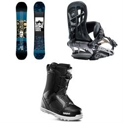 Rome Reverb Rocker SE Snowboard 2019 + 390 Boss Snowboard Bindings 2019 + thirtytwo STW Boa Snowboard Boots