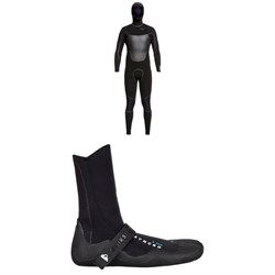 Quiksilver Syncro​+ 4​/3 Chest Zip Hooded Wetsuit ​+ Syncro 3mm Split Toe Wetsuit Booties