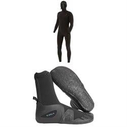 Vissla 5/4/3 7 Seas Chest Zip Hooded Wetsuit + 7 Seas 5mm Round Toe Wetsuit Boots
