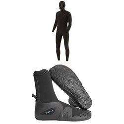 Vissla 7 Seas 5​/4​/3 Chest Zip Hooded Wetsuit ​+ 7 Seas 5mm Round Toe Wetsuit Boots