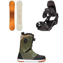 Arbor Whiskey Snowboard ​+ Arbor Spruce Snowboard Bindings ​+ DC Control Boa Snowboard Boots 2020