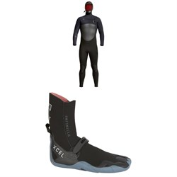 XCEL 5​/4 Infiniti Hooded Wetsuit ​+ Infiniti Round Toe 5mm Wetsuit Boots