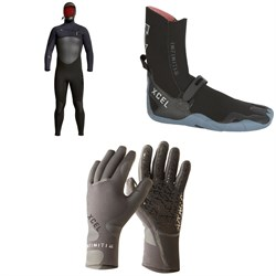 XCEL 5/4 Infiniti Hooded Wetsuit + Infiniti 5mm Round Toe Wetsuit Boots + Infiniti 5-Finger 3mm Wetsuit Gloves