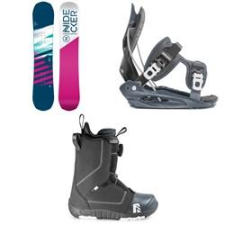 Nidecker Flake Snowboard + Flow Micron Youth Snowboard Bindings + Nidecker Micron Boa Snowboard Boots - Kids' 2020