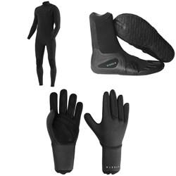 Vissla 7 Seas 4/3 Chest Zip Wetsuit + 7 Seas 3mm Split Toe Wetsuit Boots + 7 Seas 3mm Wetsuit Gloves