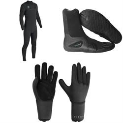 Vissla 7 Seas Power Seam 3/2 Chest Zip Wetsuit + 7 Seas 3mm Split Toe Wetsuit Boots + 7 Seas 3mm Wetsuit Gloves
