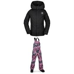Volcom Sass'N'Fras Insulated Jacket - Girls' + Volcom Barkley Bib Overalls - Kids'