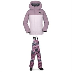 Volcom Sass'N'Fras Insulated Jacket - Girls' ​+ Volcom Barkley Bib Overalls - Kids'