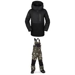 Volcom Holbeck Insulated Jacket - Boys' + Volcom Barkley Bib Overalls - Kids'
