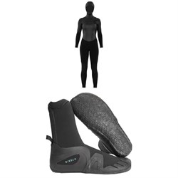 Sisstrevolution 5​/4 7 Seas Hooded Chest Zip Wetsuit - Women's ​+ Vissla 7 Seas 5mm Round Toe Wetsuit Boots