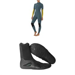 Sisstrevolution 4​/3 7 Seas Back Zip Wetsuit - Women's ​+ Vissla 7 Seas 3mm Split Toe Wetsuit Boots