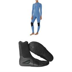 Sisstrevolution 4/3 7 Seas Back Zip Wetsuit - Women's + Vissla 7 Seas 3mm Split Toe Wetsuit Boots