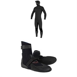O'Neill 5​/4​+ Hyperfreak Chest Zip Hooded Wetsuit ​+ Heat 5mm Round Toe Boots