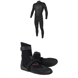 O'Neill Mutant Legend 4.5/3.5 Chest Zip Hooded Wetsuit + Heat 3mm Round Toe Boots
