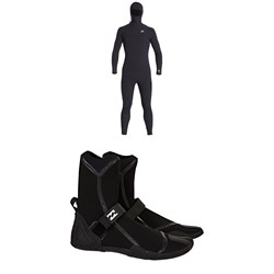 Billabong 4​/3 Furnace Comp Chest Zip Hooded Wetsuit ​+ Furnace Ultra HS 3mm Wetsuit Boots