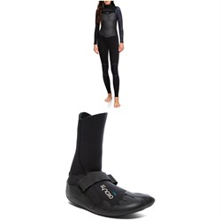 Roxy 4/3 Syncro Chest Zip LFS Wetsuit + Syncro Round Toe 3mm Wetsuit Boots - Women's