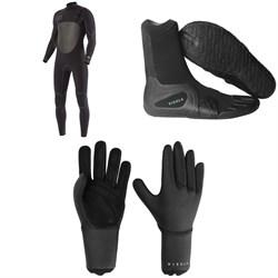 Vissla North Seas 4/3 Chest Zip Wetsuit + 7 Seas 3mm Split Toe Wetsuit Boots + 7 Seas 3mm Wetsuit Gloves