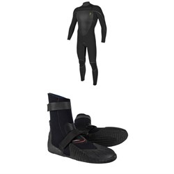 O'Neill 4.5​/3.5 Mutant Legend Chest Zip Hooded Wetsuit ​+ O'Neill Heat 5mm Round Toe Boots
